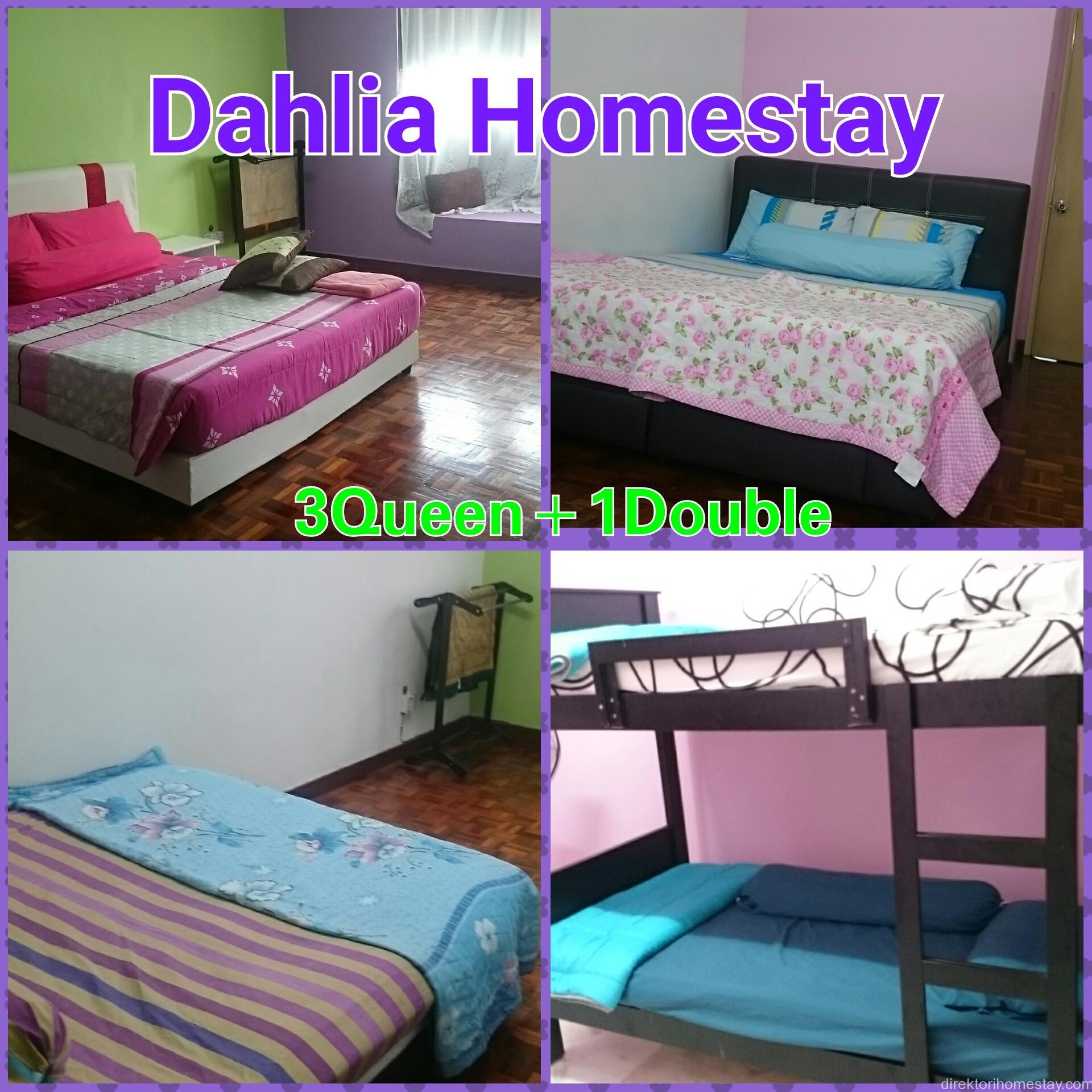 Tiga bilik queen size dan Satu double decker